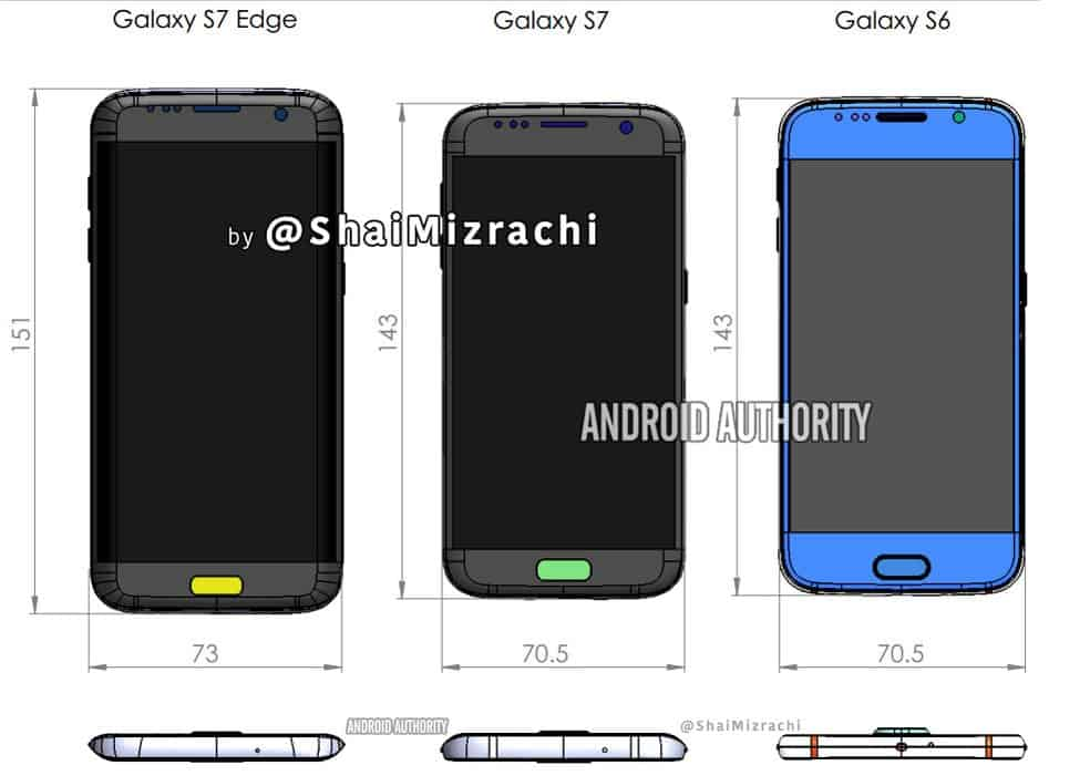 Galaxy S7 S7 Edge Dimensions Schematics