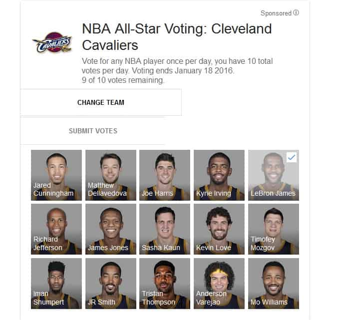 Google NBA ALL Star Vote KK
