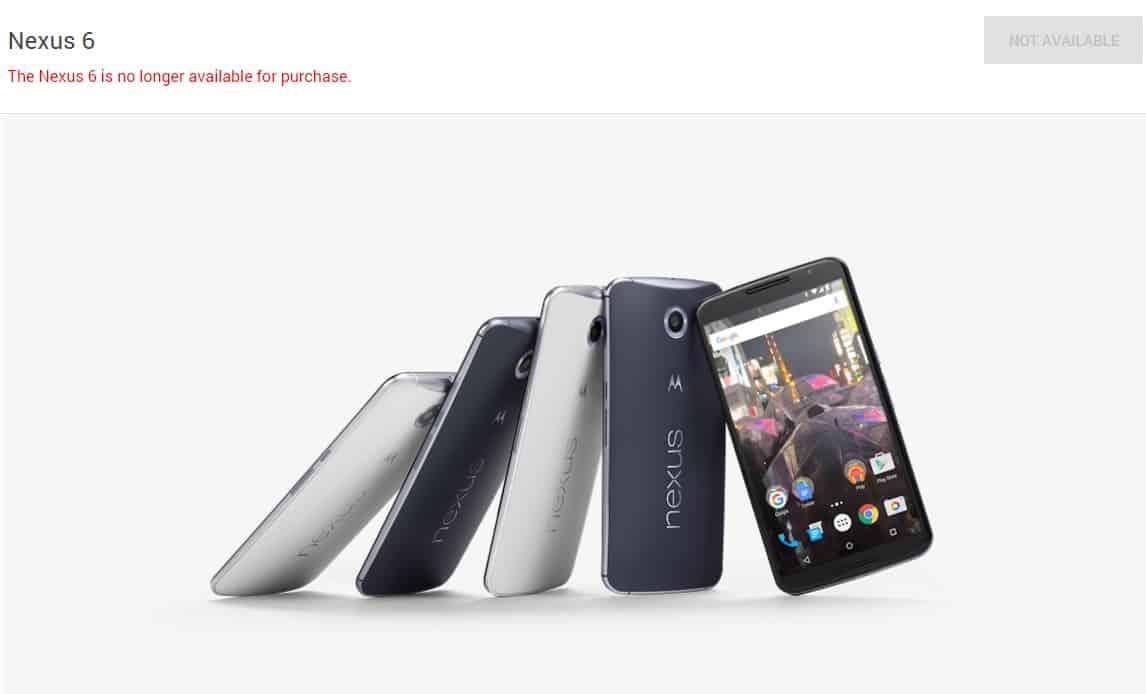 Nexus 6 google store unavailable