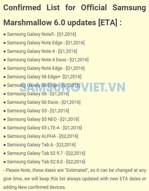Samsung Marshmallow Update Timeline Leaked KK
