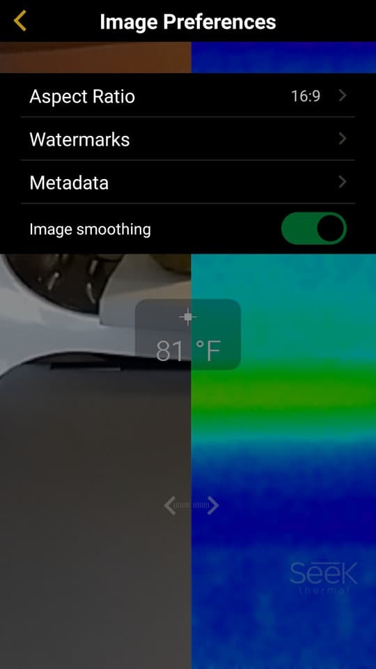 seek thermal camera app menu 2