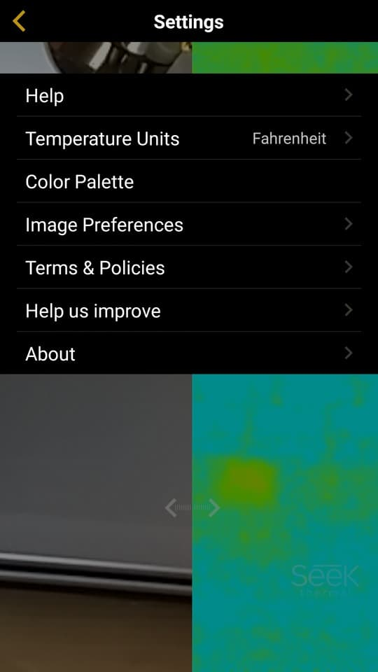 seek thermal camera app menu