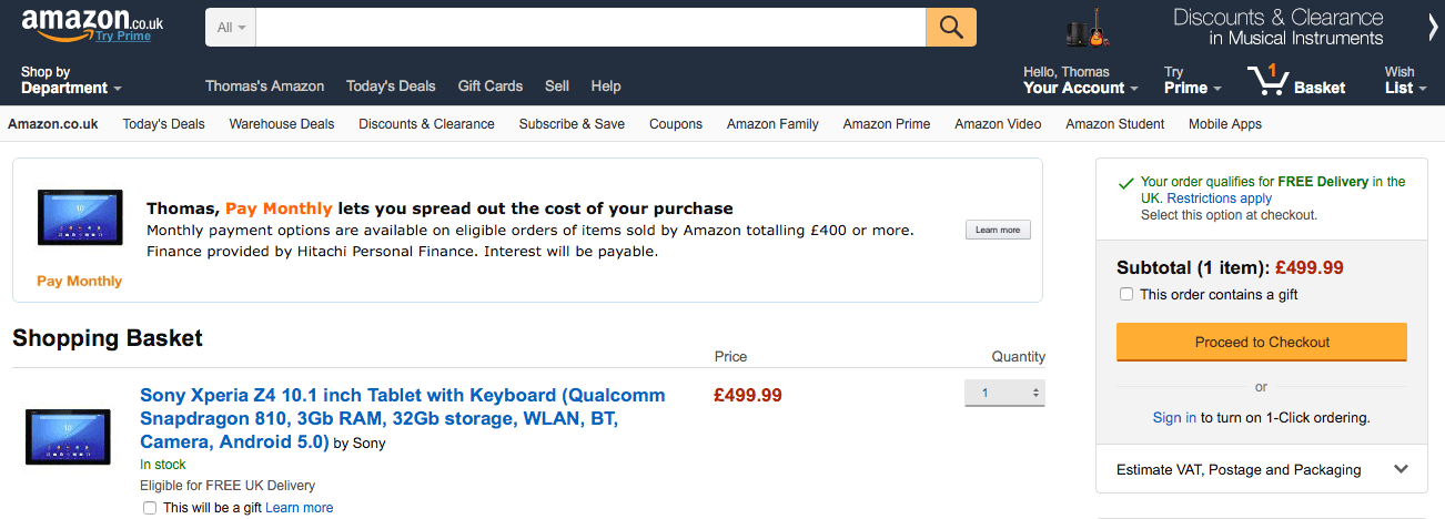 Amazon Pay Monthly