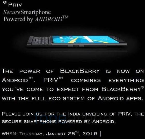 BlackBerry Priv India launch invite KK
