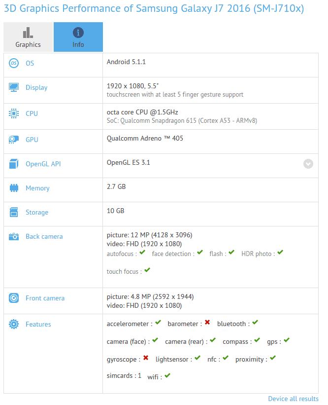Galaxy J7 (2016) GFXBench_1