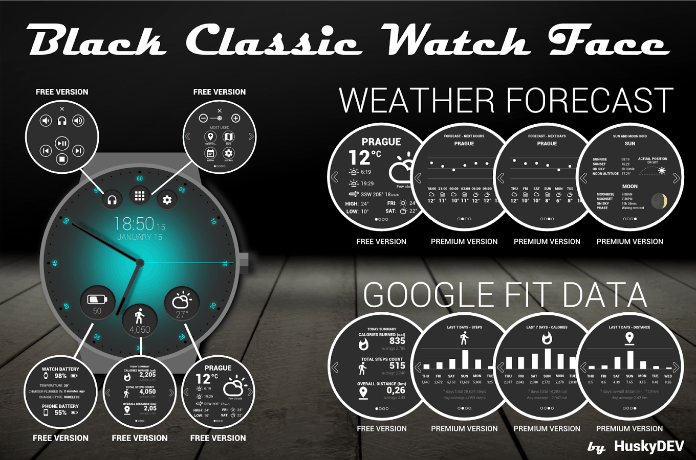 HuskyDEV Black Classic Watch
