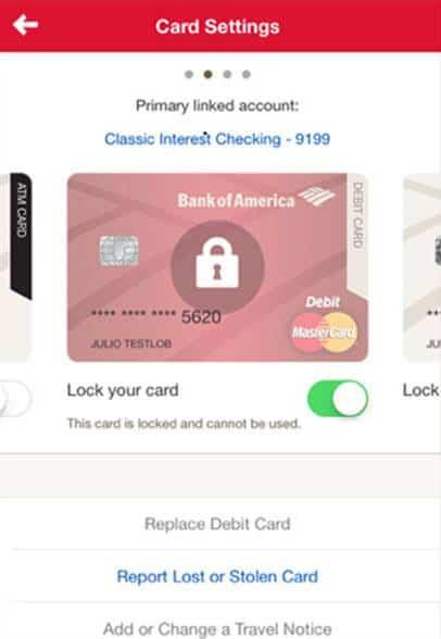 BofA card lock