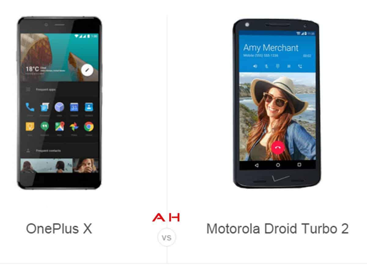 OnePlus X vs Moto Droid Turbo 2 cam AH