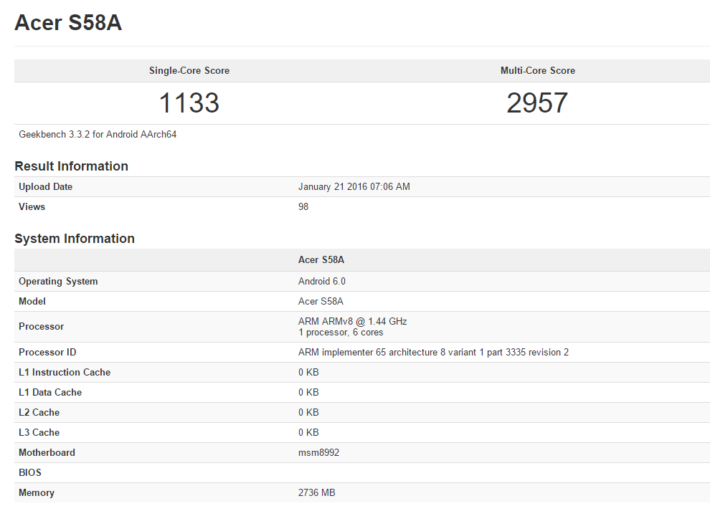 Android Jade Primo Geekbench