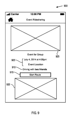 FB rideshare patent