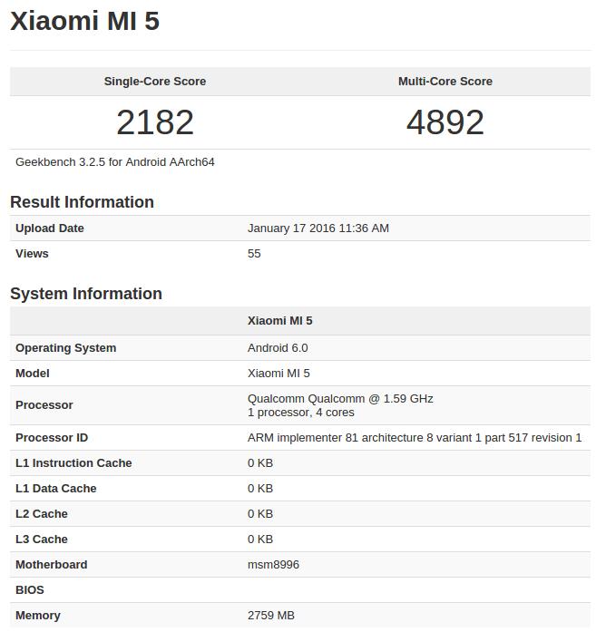 Xiaomi Mi 5 GeekBench_1