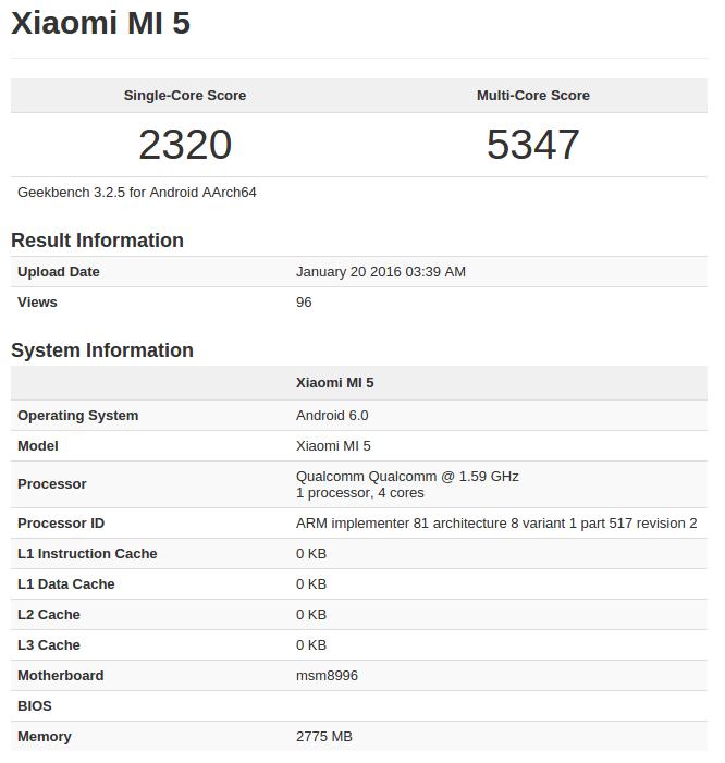 Xiaomi Mi 5 Geekbench, 2nd revision
