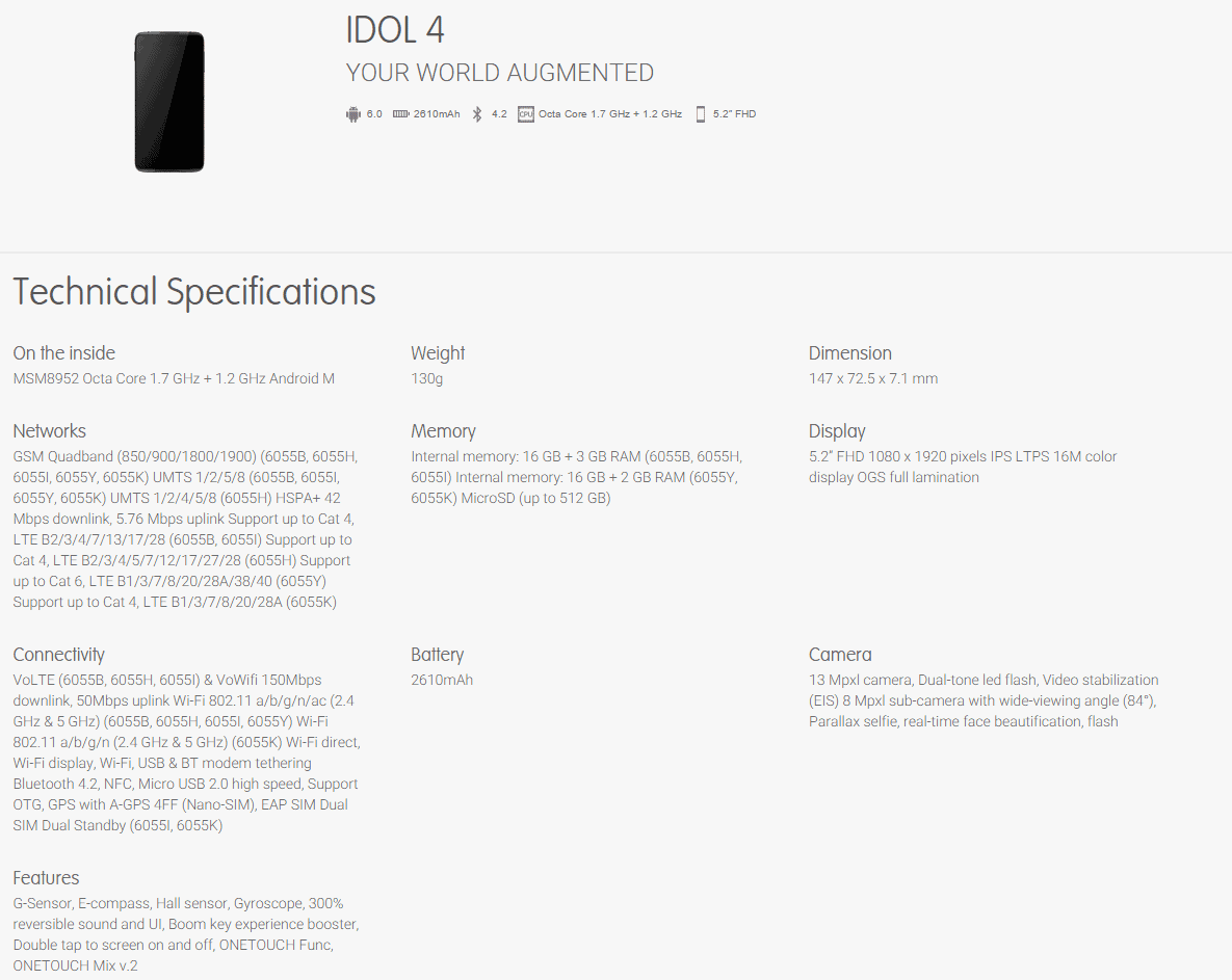 Alcatel OneTouch 4 leaked specs 2