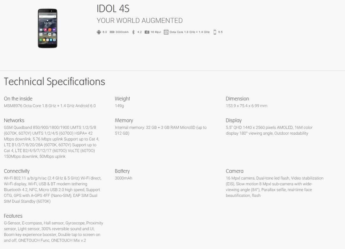 Alcatel OneTouch 4S leaked specs