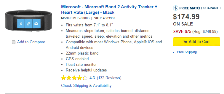 Microsoft Band 2 Best Buy Deal
