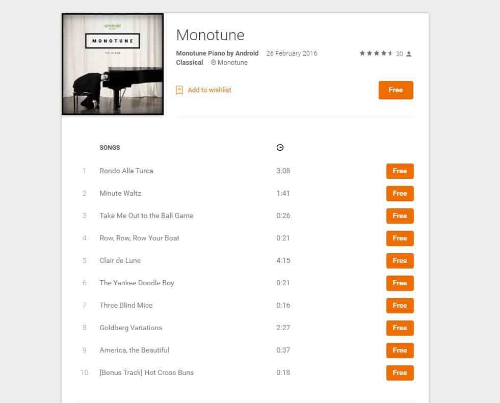 Monotune Album Play Store