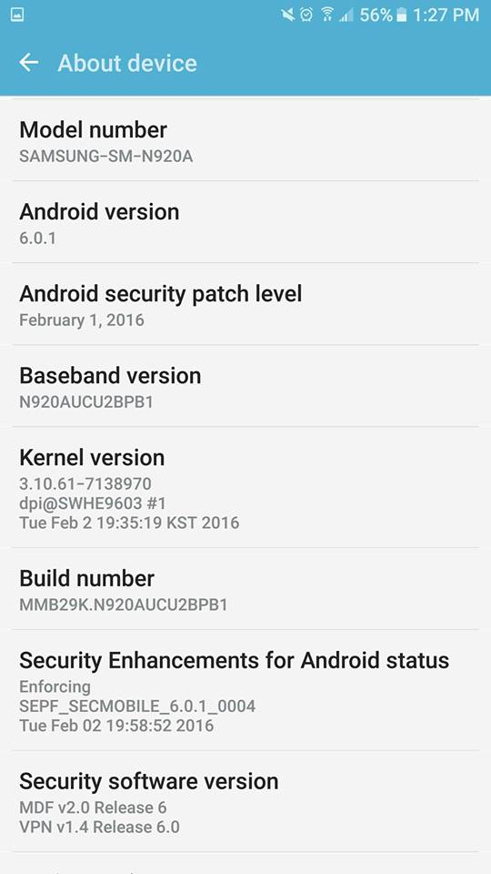 Samsung Galaxy Note 5 ATT Marshmallow beta update 1