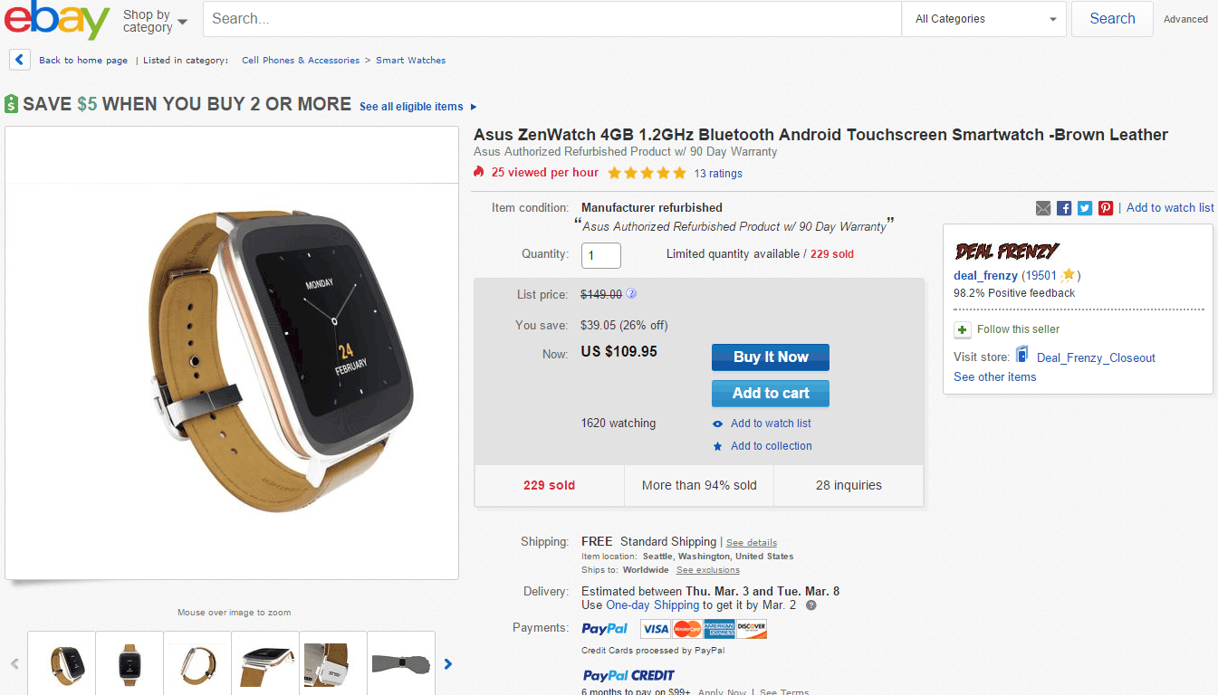 ASUS ZenWatch Deal