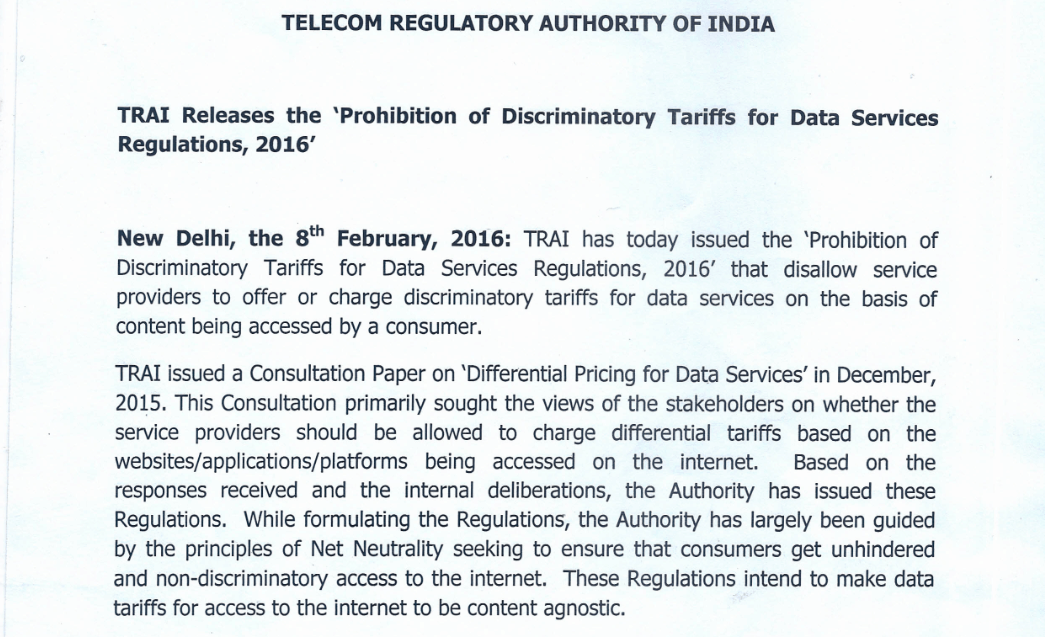 TRAI letter to Facebook