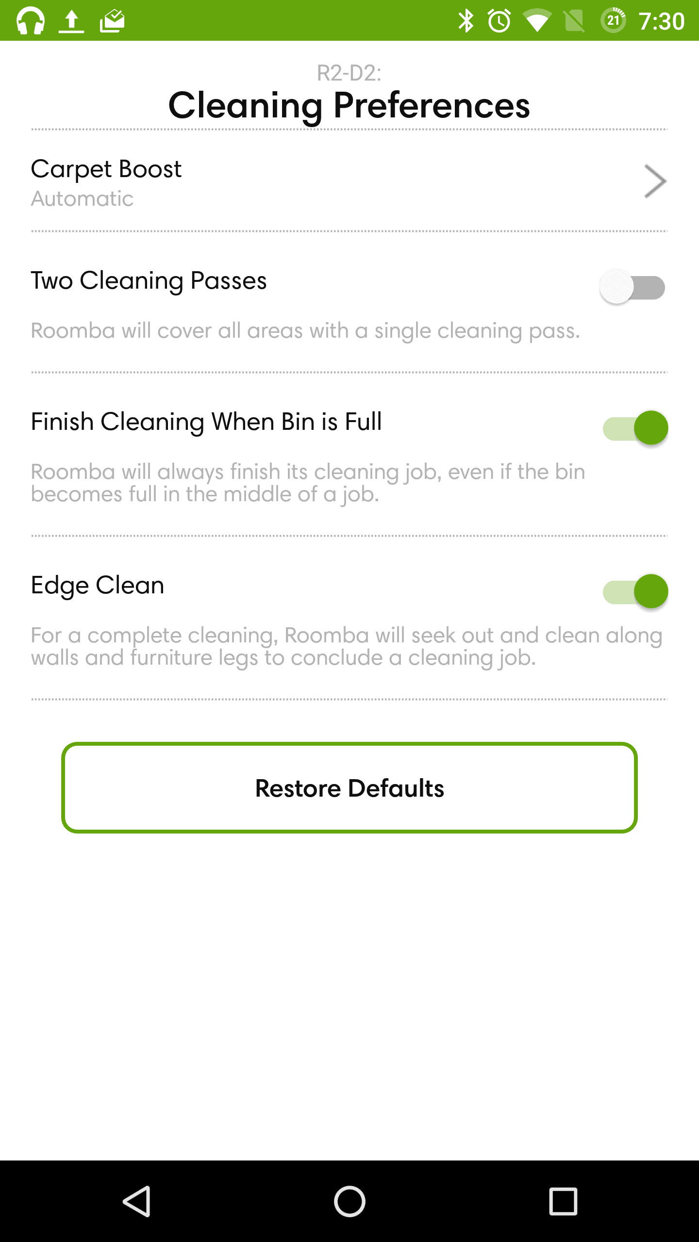 iRobot Roomba 980 AH NS app cleaning prefs