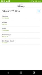 iRobot Roomba 980 AH NS app job history
