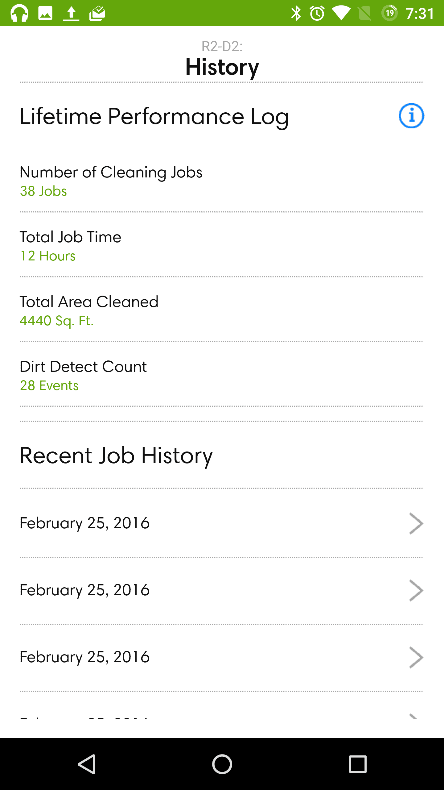 iRobot Roomba 980 AH NS app job history main