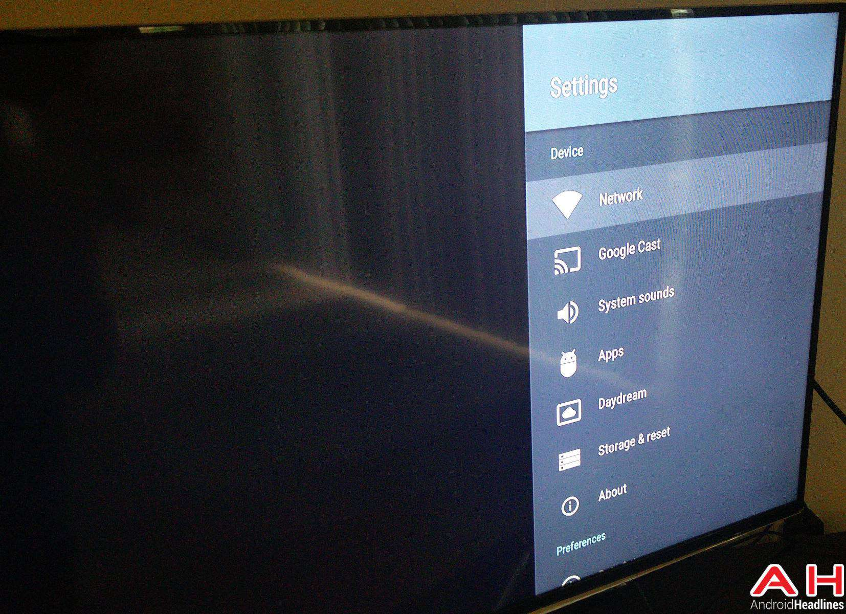 Android N Android TV Settings AH-1