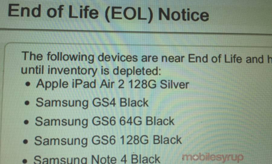 Bell EOL Galaxy S6
