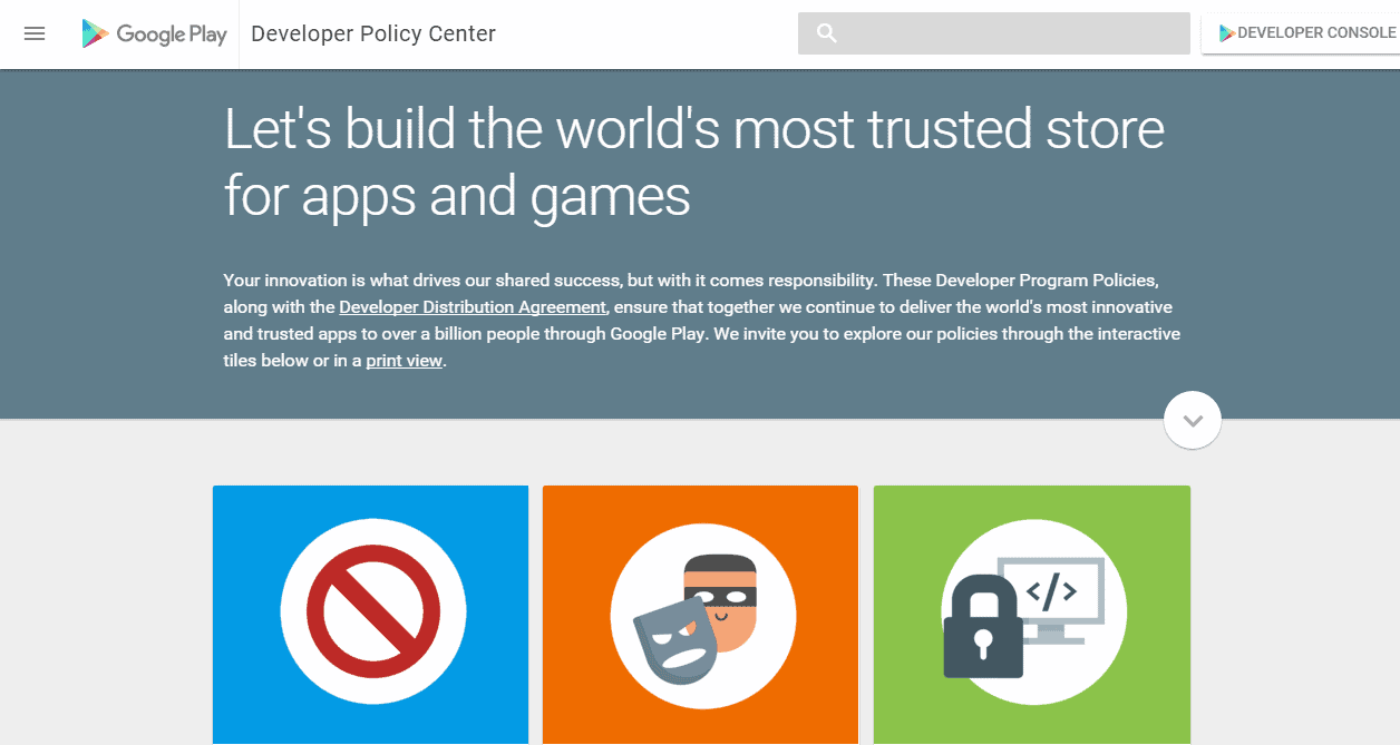 Google Play Developer Program Policy Center Screenshot