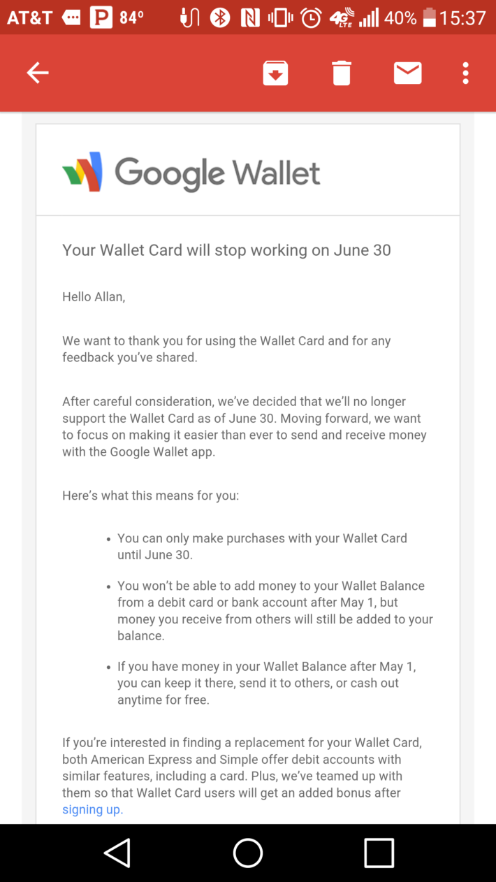 Google Wallet Card end