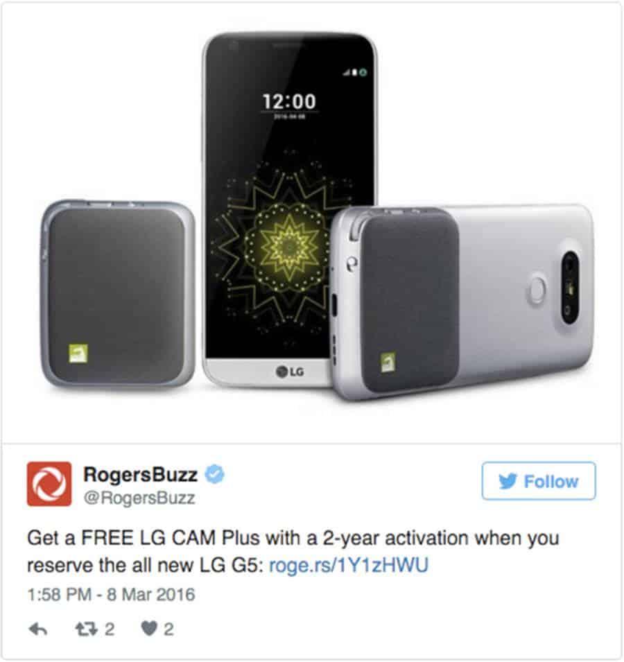 LG G5 on Rogers Tweet
