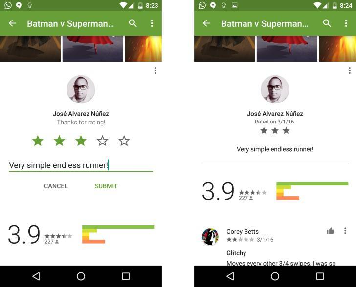 Play Store Ratings