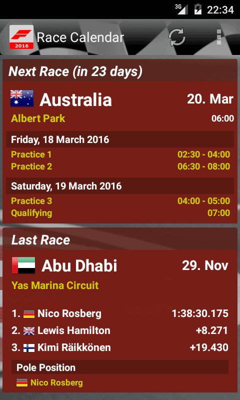 Race Calendar 2016