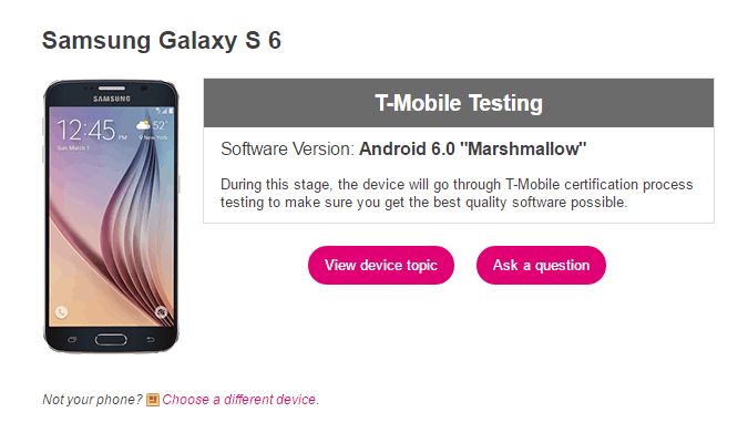 Samsung Galaxy S6 T-Mobile Marshmallow Testing