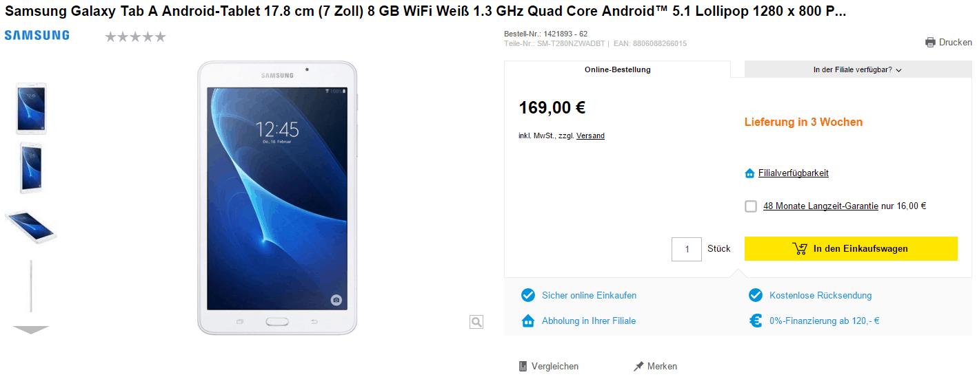 Samsung Galaxy Tab A 2016 German Retailer 2