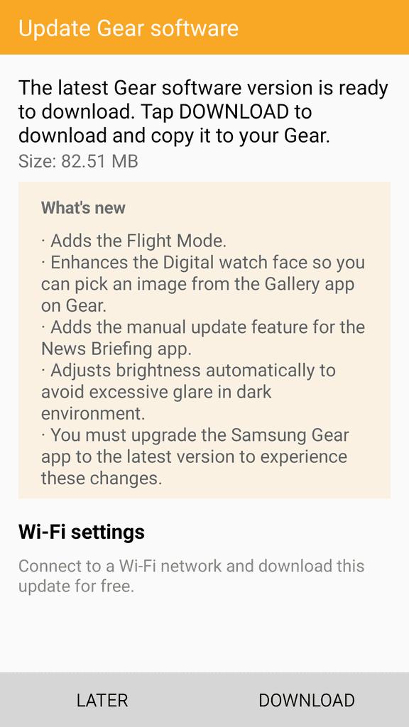 Samsung Gear S2 March Update Changelog