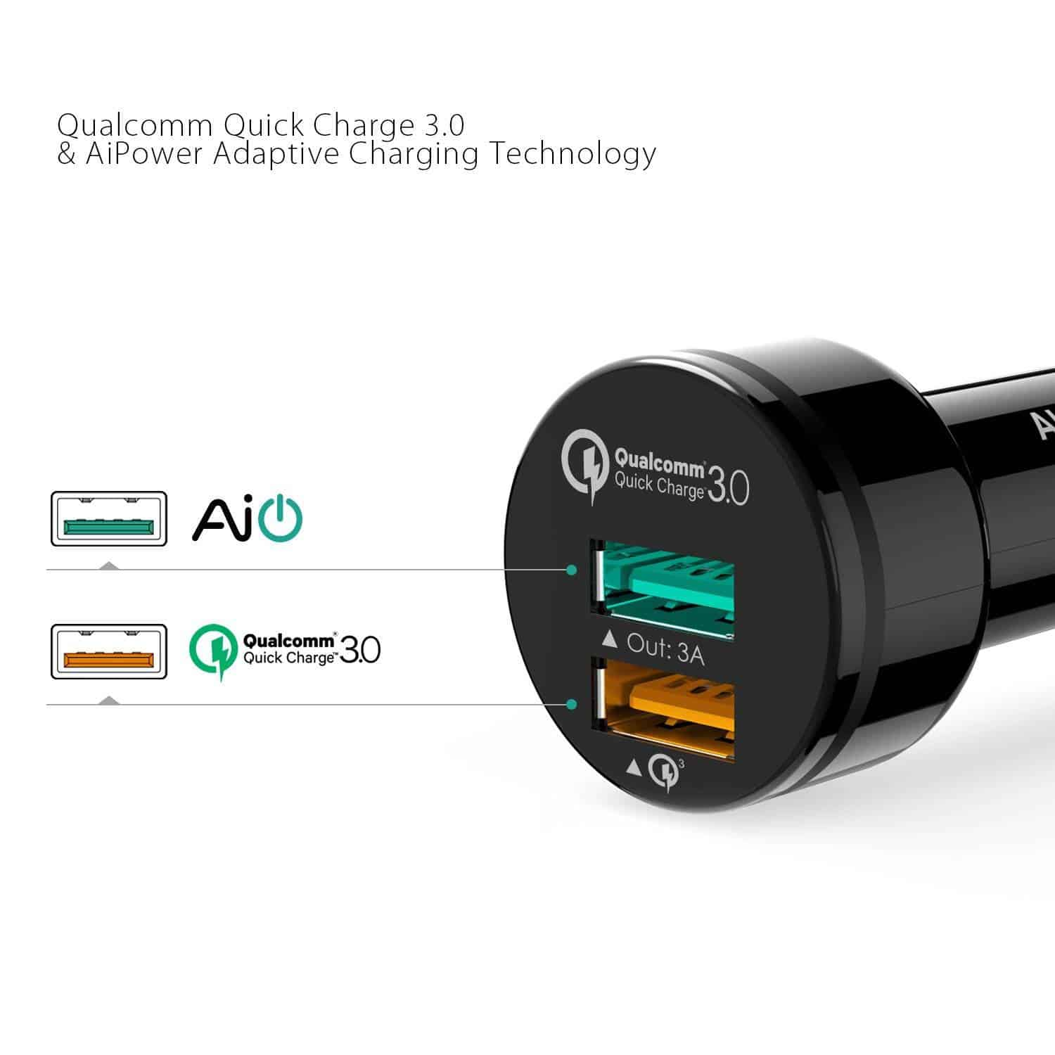 aukey quickcharge3 car charger 3
