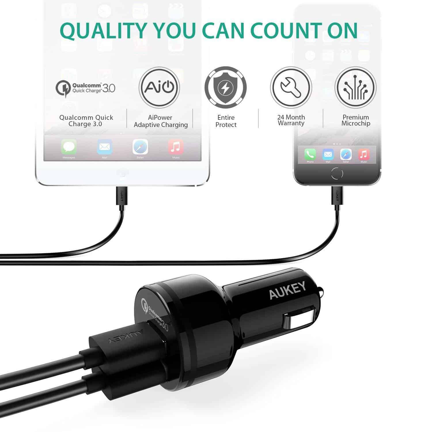 aukey quickcharge3 car charger 6