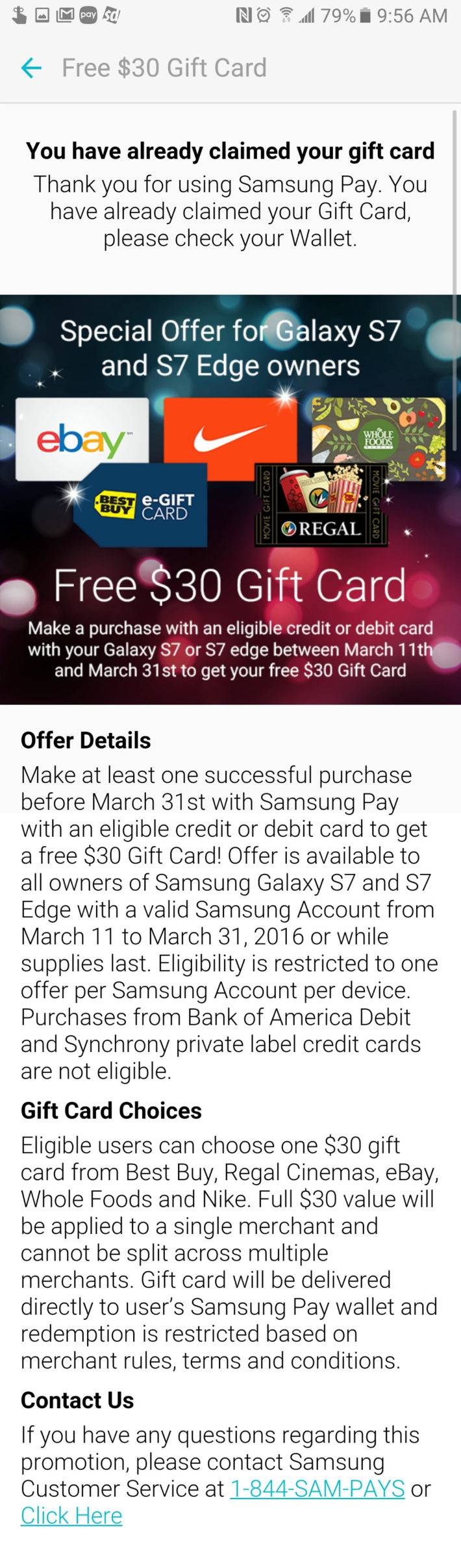 $30 Gift Cards Going To Samsung Pay Users On Galaxy S7/S7 Edge ...
