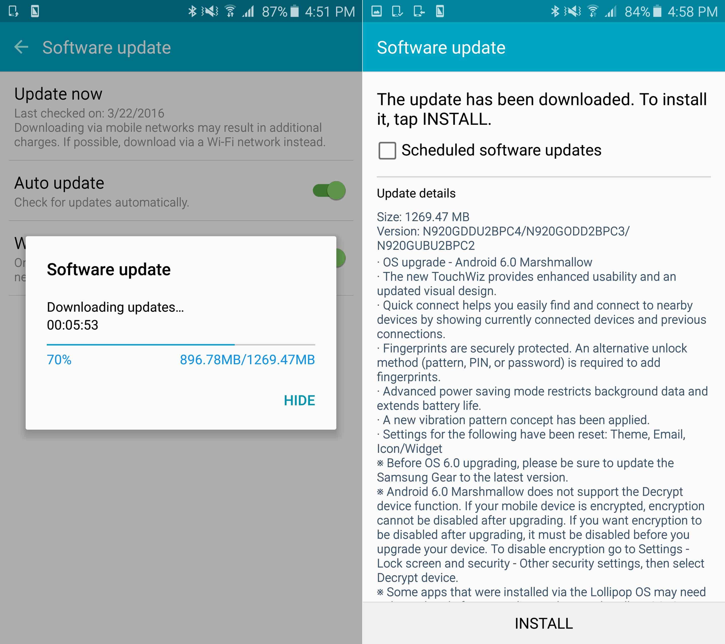 galaxy note 5 marshmallow update in india