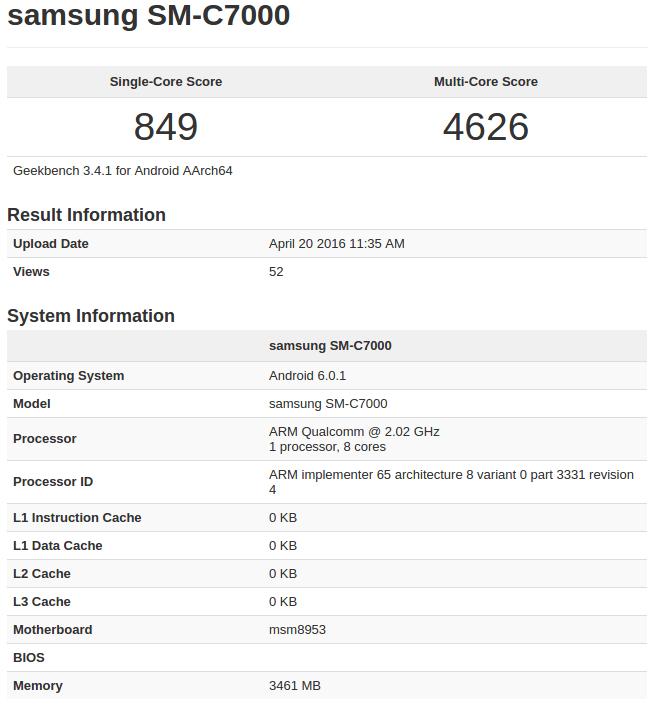 Galaxy C7 Geekbench listing (pre-launch)_1