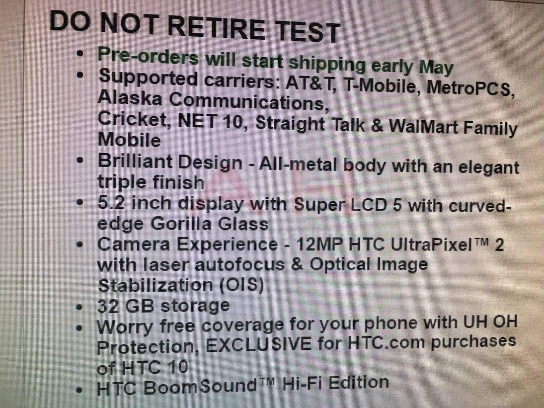 HTC 10 Spec Leak AH 1