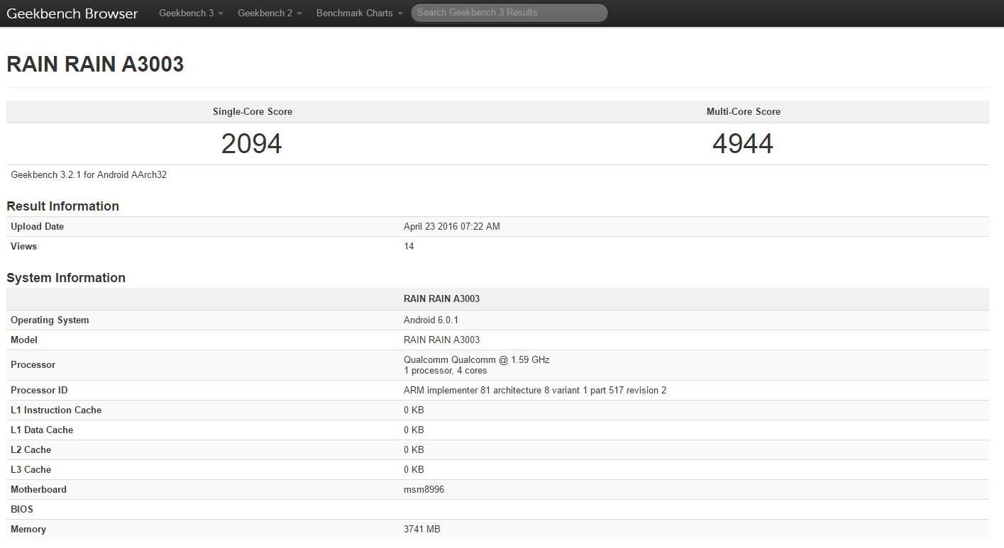 OnePlus 3 Geekbench Rain Rain A3003