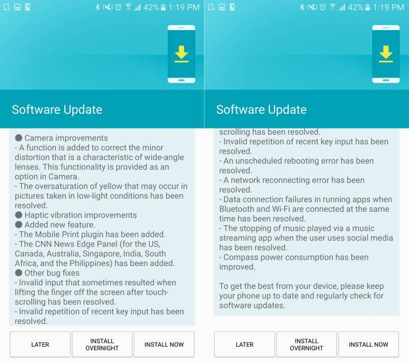 Samsung Galaxy S7 Update India