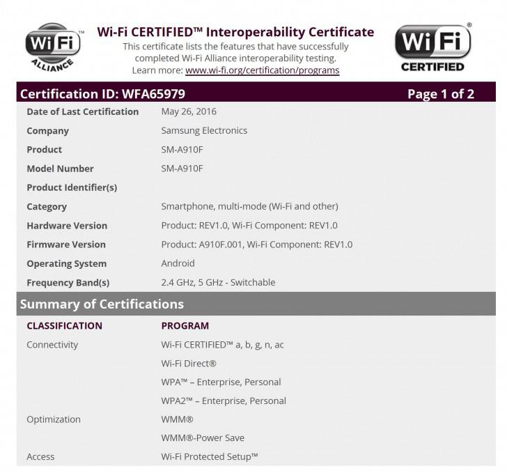 Samsung Galaxy A9 Pro WiFi Certification
