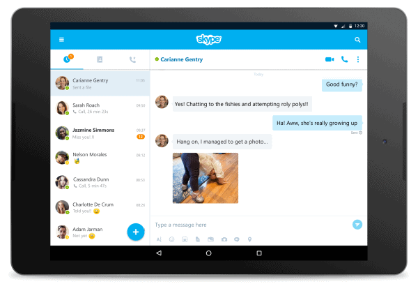 Skype 7.0 Android Tablet