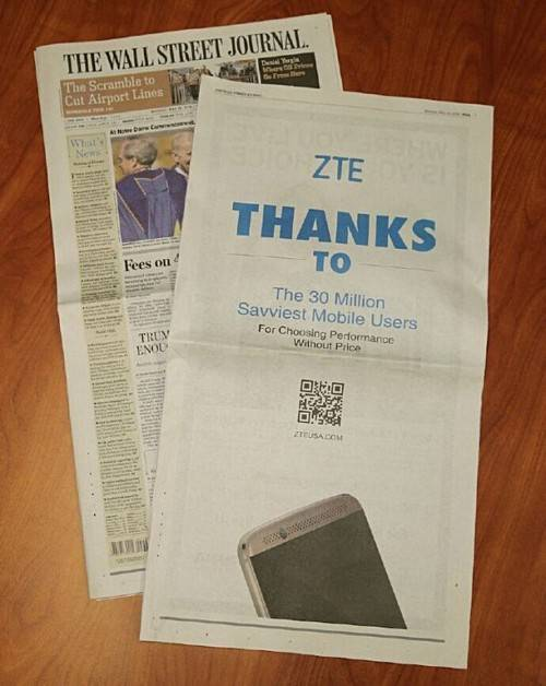ZTE Axon Wall STreet Journal Ad KK
