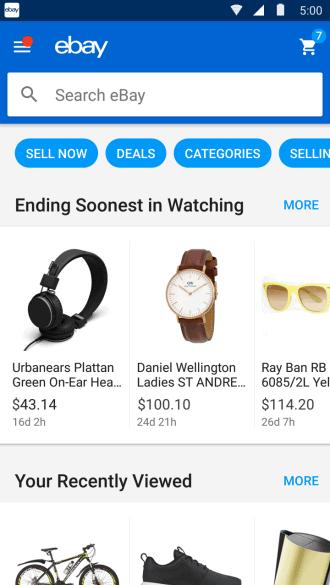 ebay android homescreen