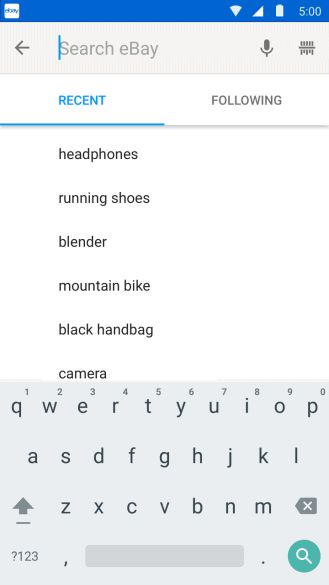 ebay android search