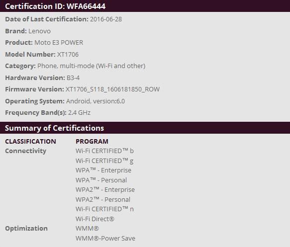 Moto E3 Power Wi-Fi Certified KK